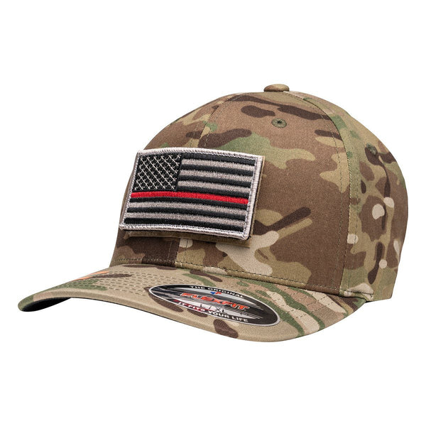 Officially Licensed Multicam Hat with Thin Red Line Flag Patch