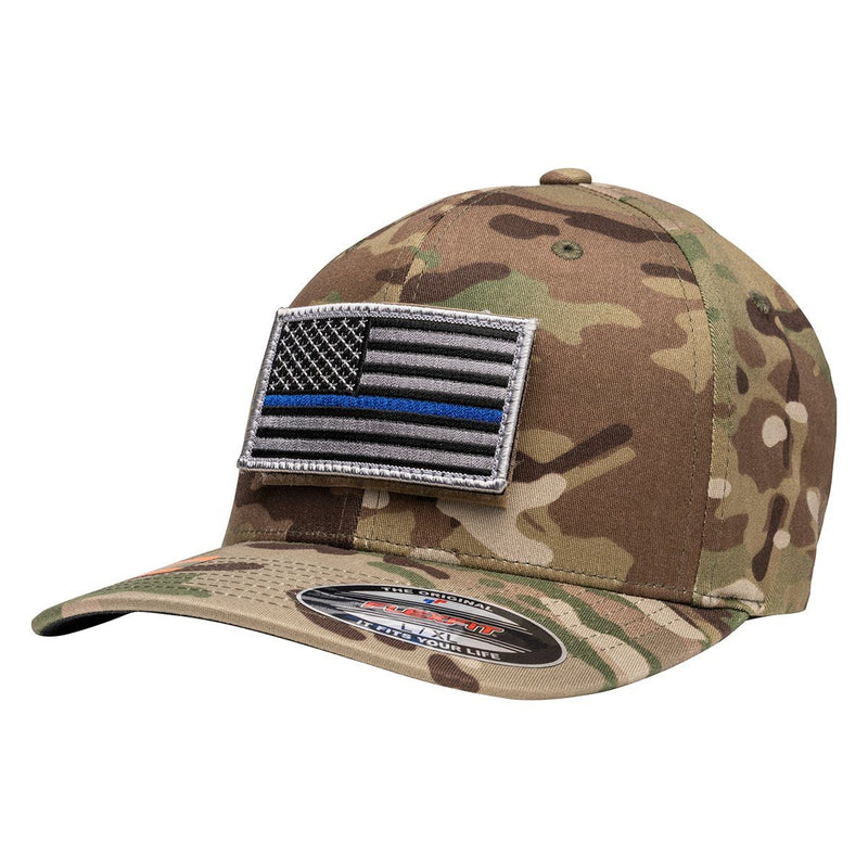 Officially Licensed Multicam Hat with Thin Blue Line Flag Patch