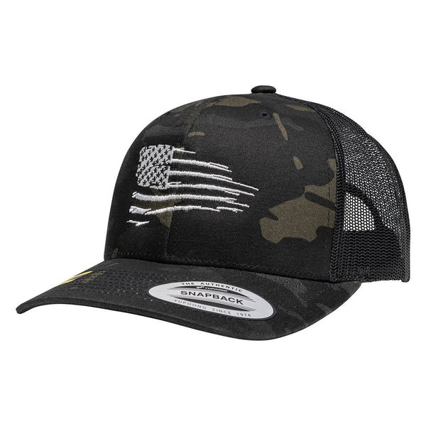 Rugged American Flag Black Multicam Snapback Trucker Hat