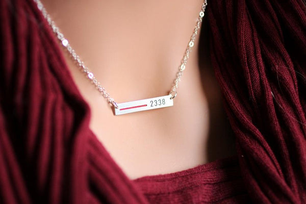 Thin Red Line Personalized Necklace Made In The USA