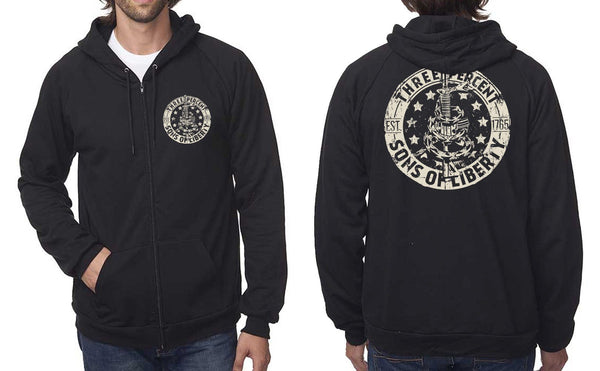 Threeper Sons Of Liberty Zip Up Hooded Sweatshirt