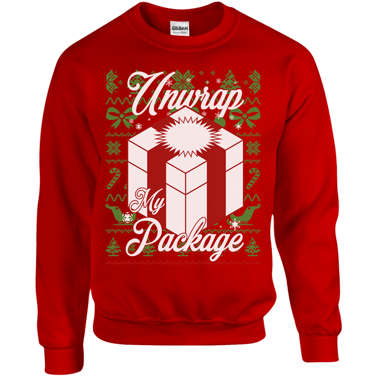 Unwrap My Package Ugly Christmas Sweater