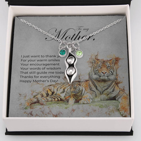 Peas in a Pod Mother's Day Necklace with Tiger and Cub Message Card