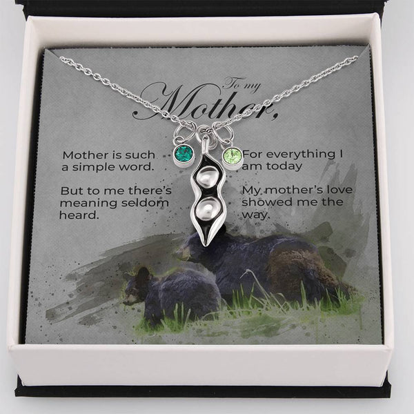 Peas in a Pod Mother's Day Necklace with Bear and Cub Message Card