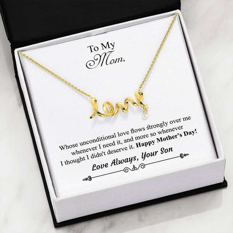 Son to Mom Scripted Love Necklace - With Message Card