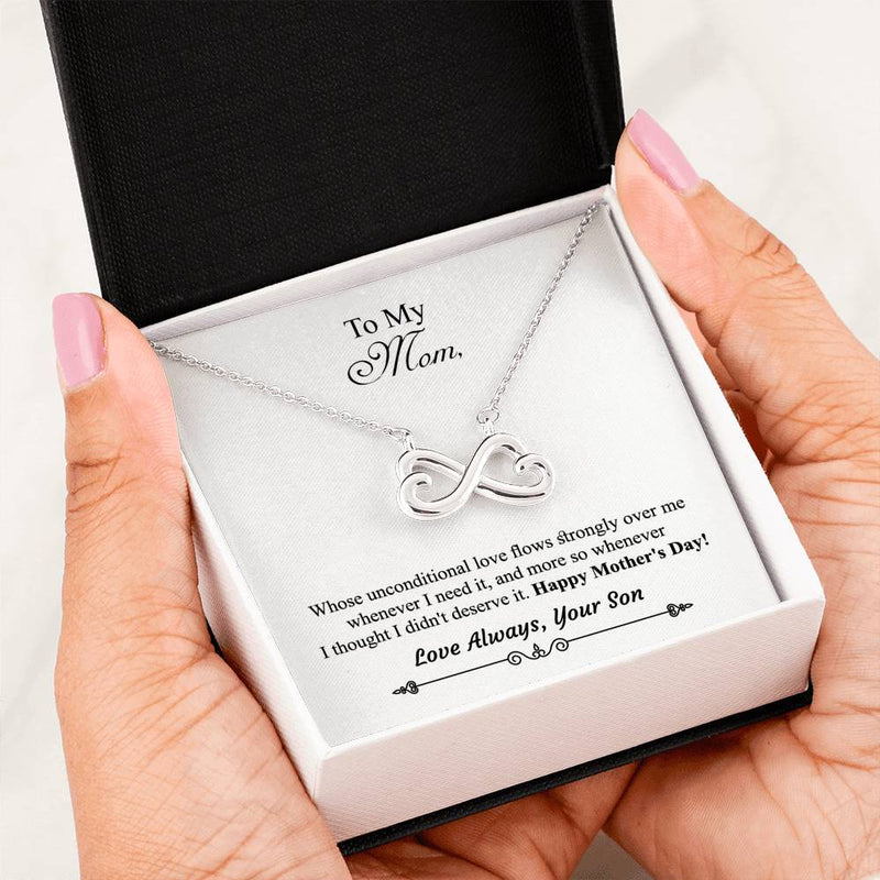 To Mom From Son Infinity Hearts Necklace - Message Card Included