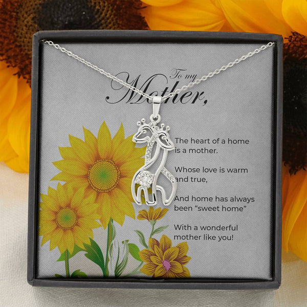 Graceful Love Giraffe Mother's Day Necklace with Message Card