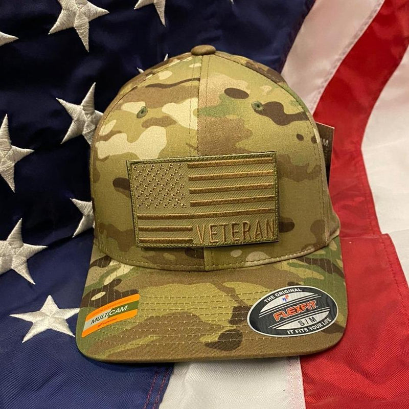 Veteran Tactical Operator Flag Hat with Coyote Brown Veteran Flag Patch