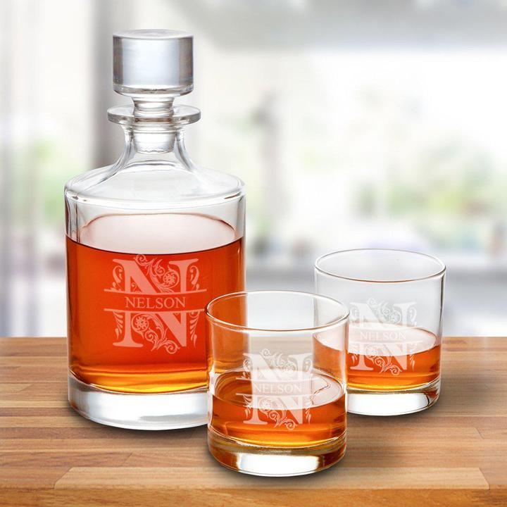Personalized 30oz Round Decanter and Low Ball Glass Set