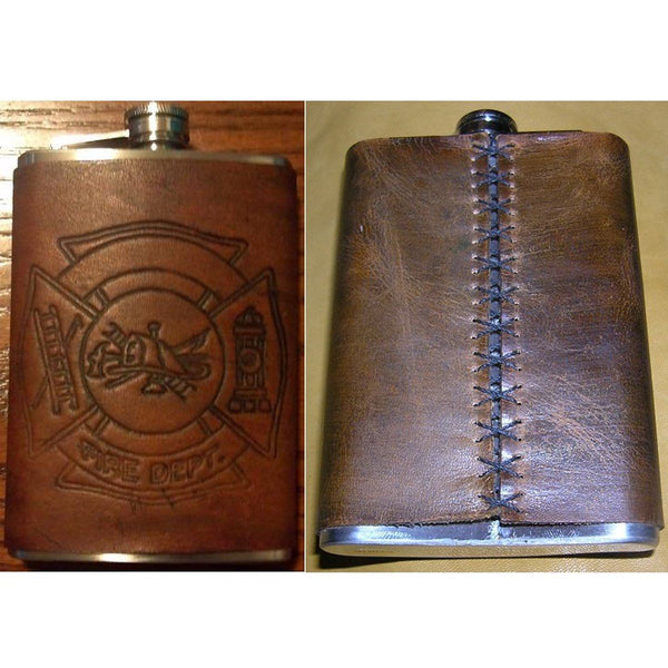 """FIRE DEPT."" Leather Flask Cover"