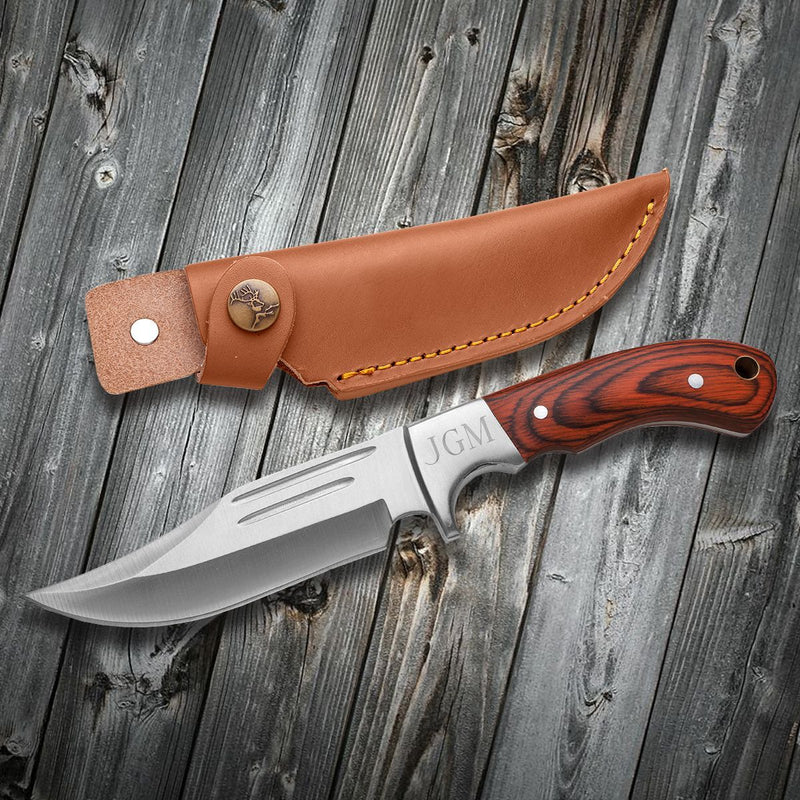 Personalized Saw Mountain Wood Handle Fixed Blade Knife