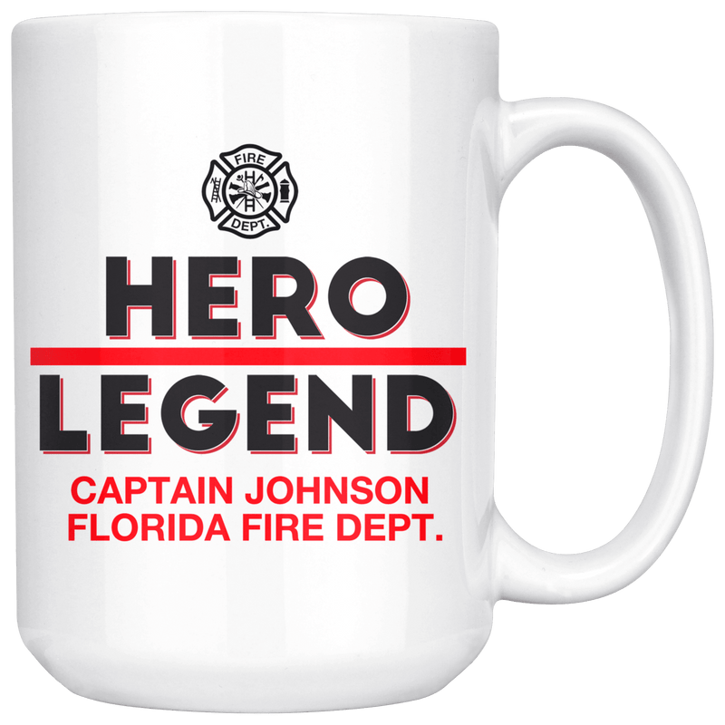 Personalized Firefighter Hero-Legend 15oz Mug