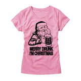 Womens Merry Drunk I'm Christmas T-Shirt