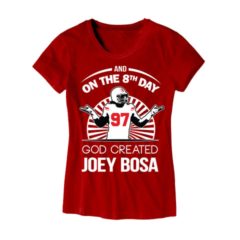 Womens On The 8th Day God Created Joey Bosa Shirt