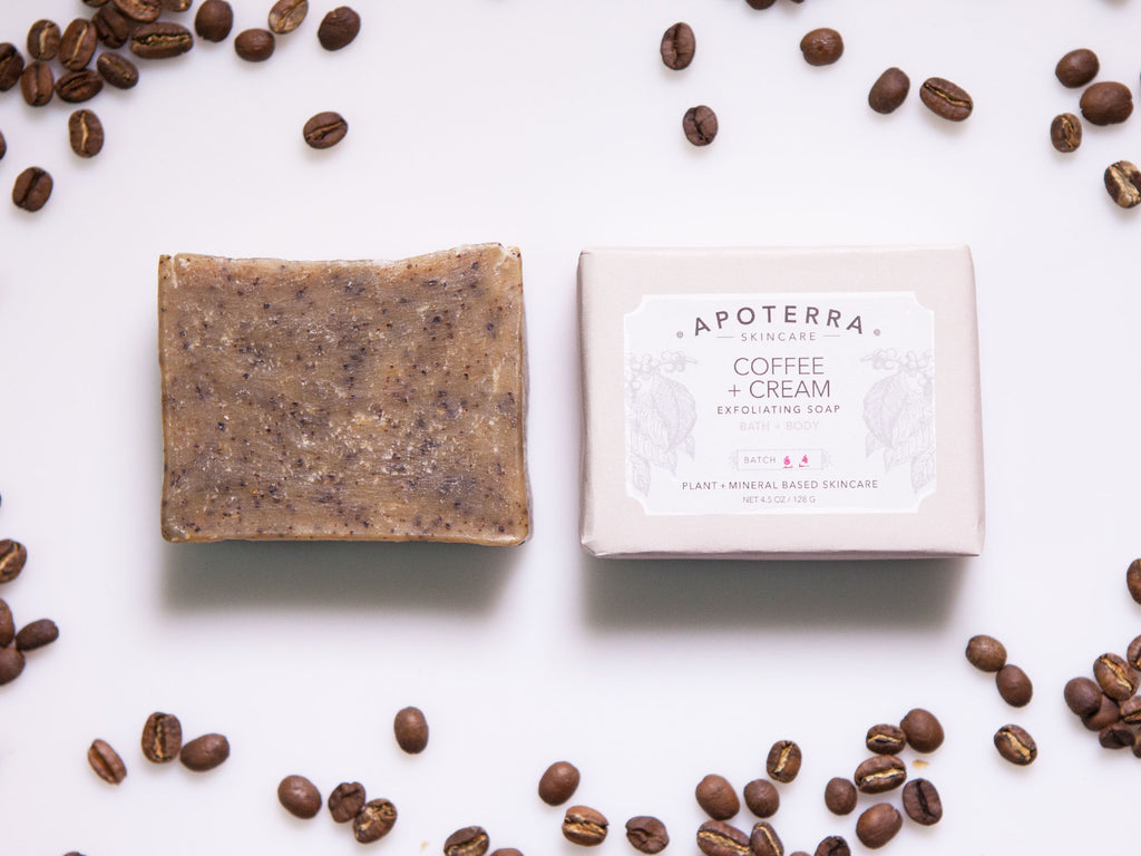 Coffee and cream cinnamon scented coffee scrub soap by Apoterra Skincare