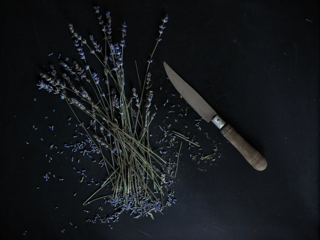 lavender and rustic knife