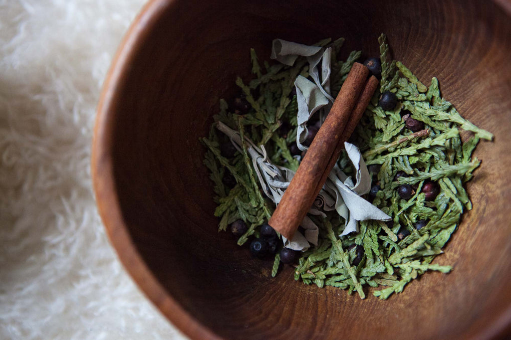 winter herbal steam as part of a winter solstice ritual