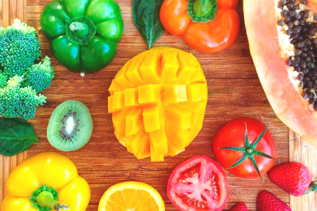 Fruits and vegetables with a lot of vitamin C