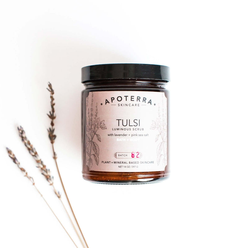pink sea salt exfoliating body scrub made with tulsi and lavender essential oil