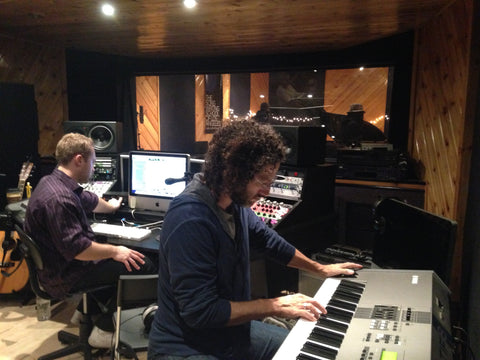 Gabriel Mann records keyboards at The Songwriting School's Sound Boutique Studio