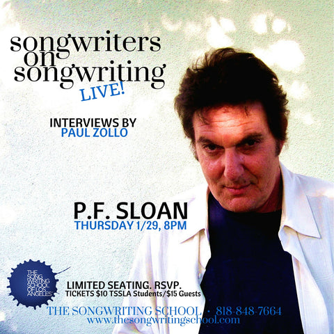 P.F. Sloan was interviewed by Paul Zollo at The Songwriting School of Los Angeles in 2015.