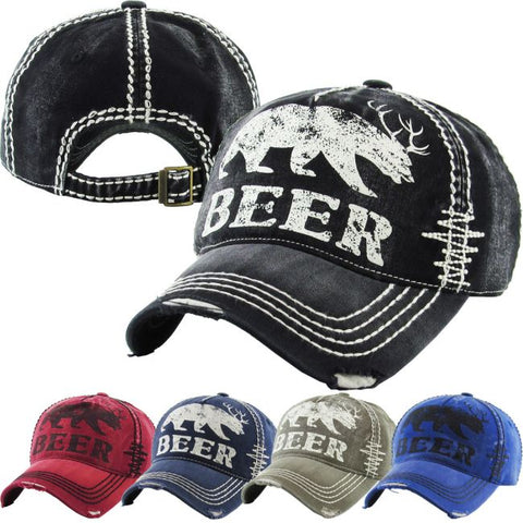BEER distressed cap