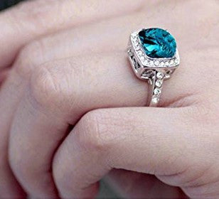 Ocean Blue Halo Ring