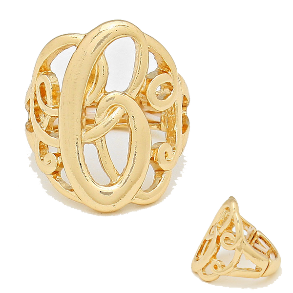 Monogram Stretch Ring - Gold