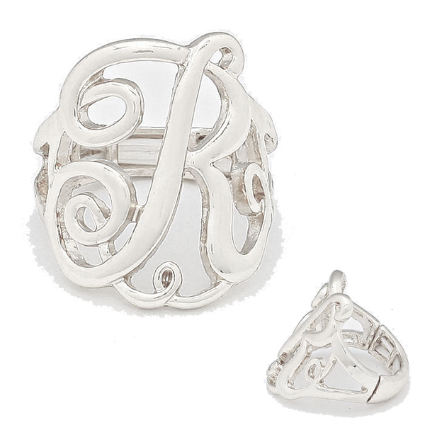Monogram Stretch Ring - Silver