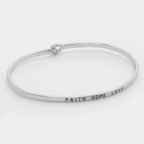 Inspirational Message Bracelets - Silver