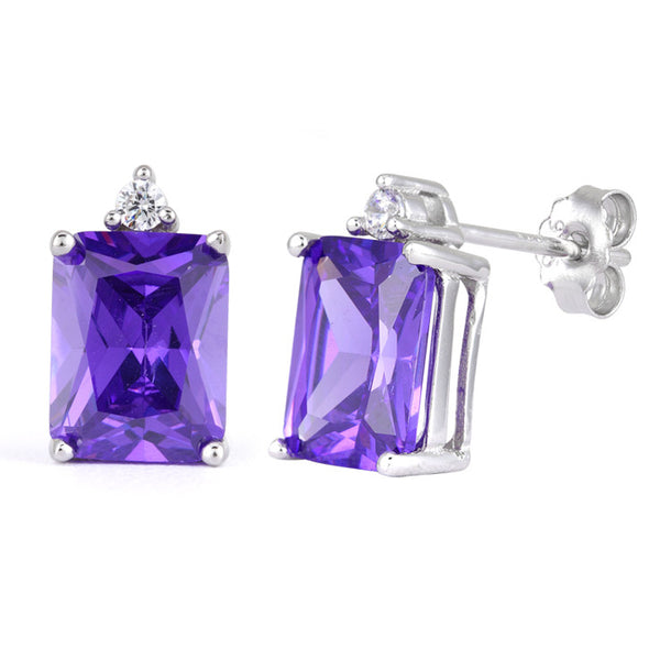 Amethyst Emerald Cut Earrings