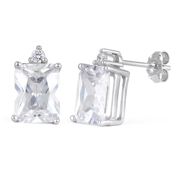 Clear CZ Emerald Cut Earrings