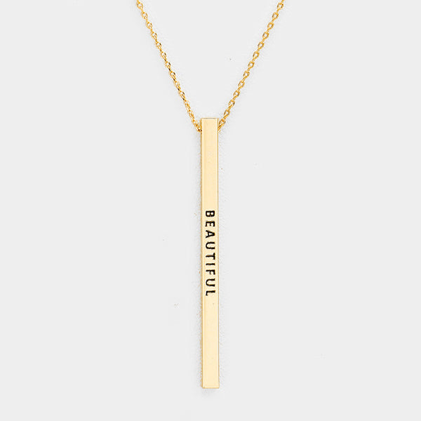 Vertical Message Bar Necklace - Gold