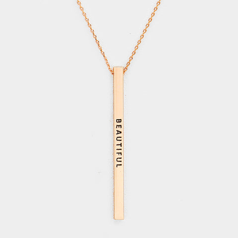 Vertical Message Bar Necklace - Rose Gold