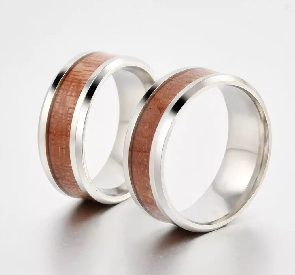 Tungsten Silver Wood Ring