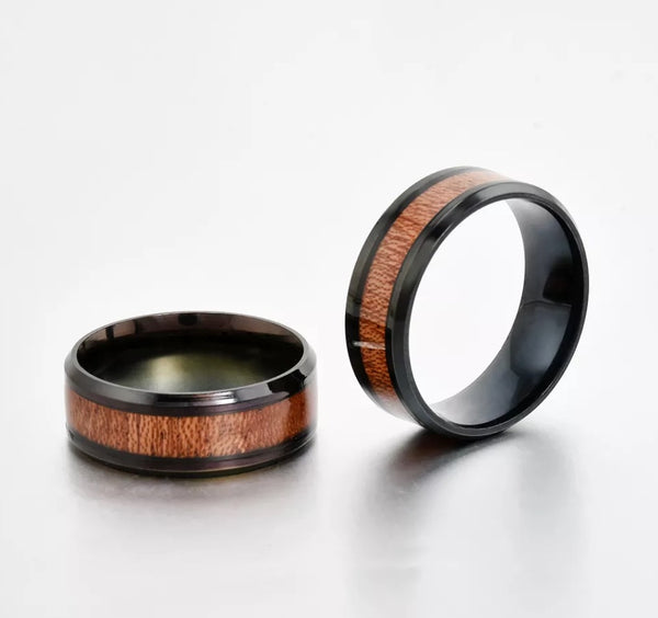 Tungsten Black Wood Ring