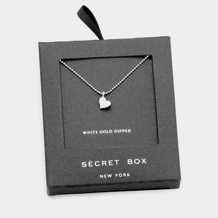 Secrt Box White Gold Pave Heart Pendant Necklace