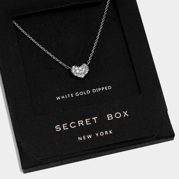 Secret Box White Gold Pave Heart Necklace