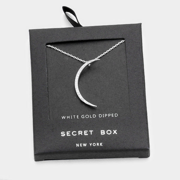 Secret Box White Gold Crescent Moon Necklace