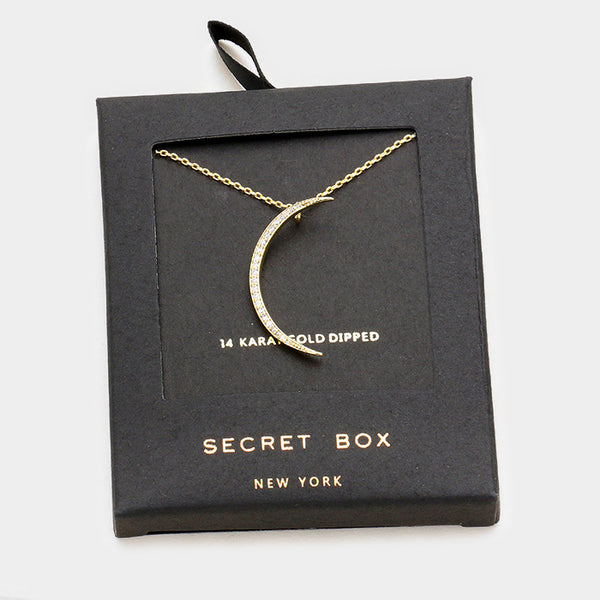 Secret Box Yellow Gold Crescent Moon Necklace