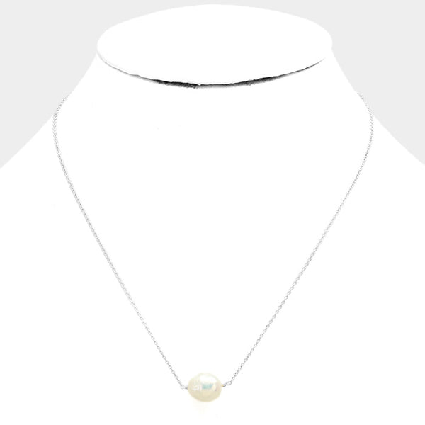 White Gold Freshwater Pearl Necklace