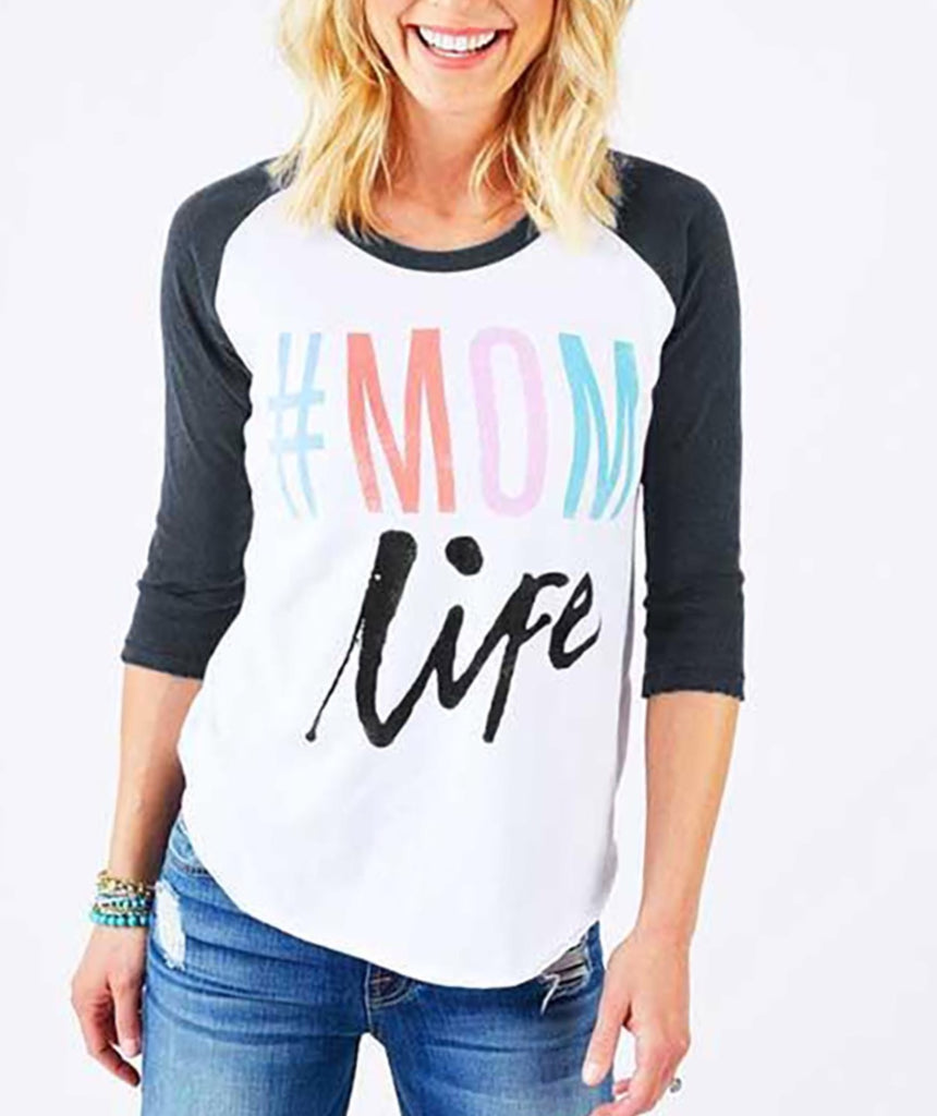 Mom Life - Ladies 3/4 Sleeve Baseball Tee