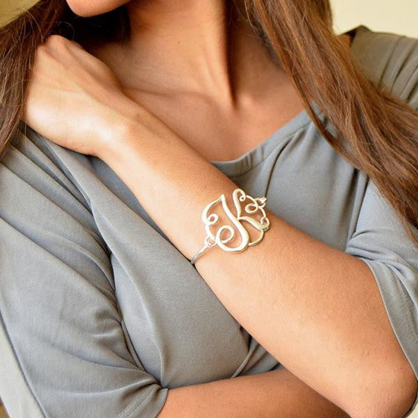 Monogram Bangle Bracelet - Gold
