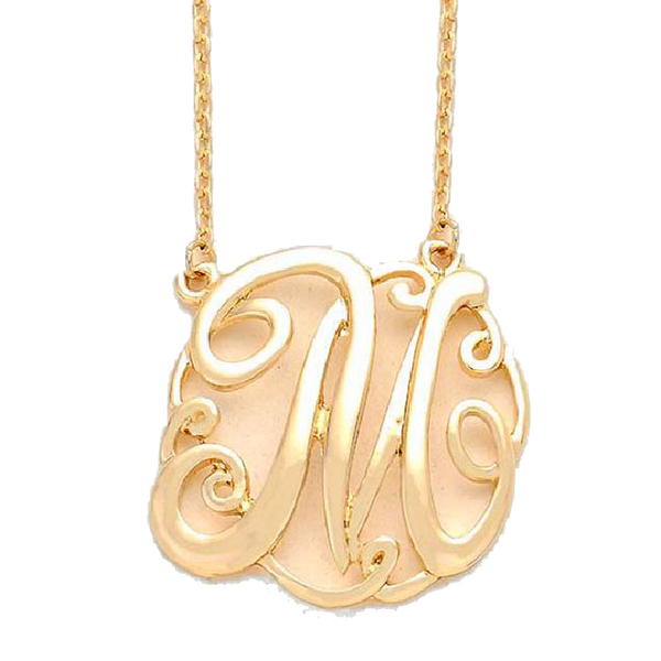 Circle Monogram Necklace - Gold