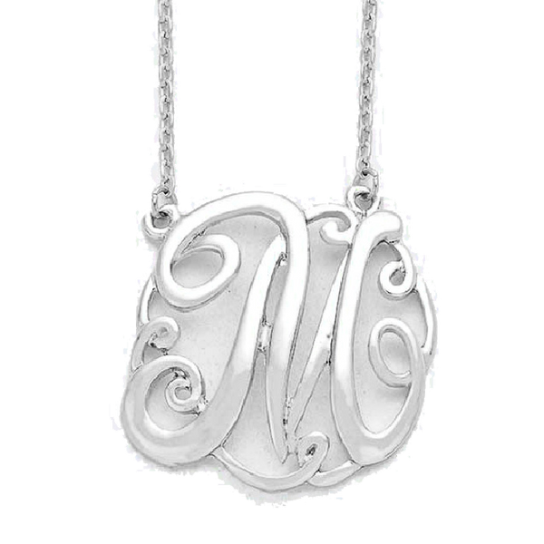 Circle Monogram Necklace - Silver