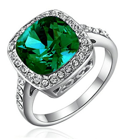 Emerald Green Halo Ring