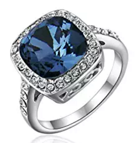 Sapphire Blue Halo Ring