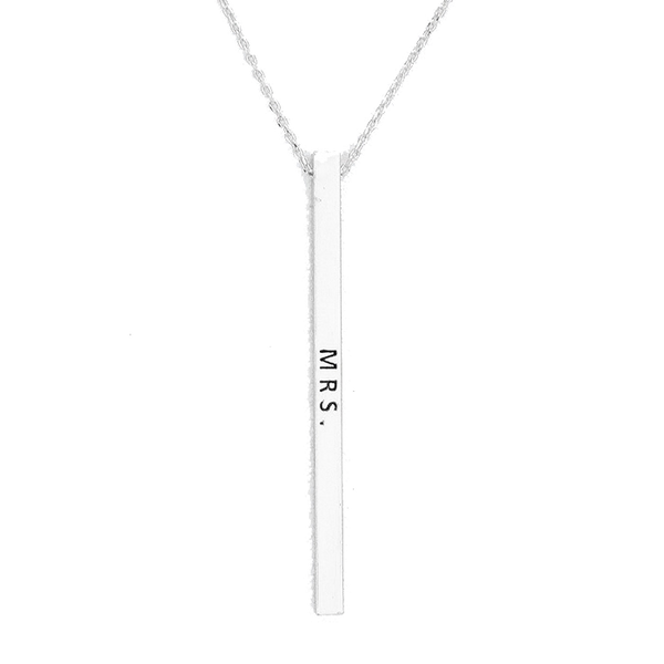 Vertical Message Bar Necklace - Silver - MRS.