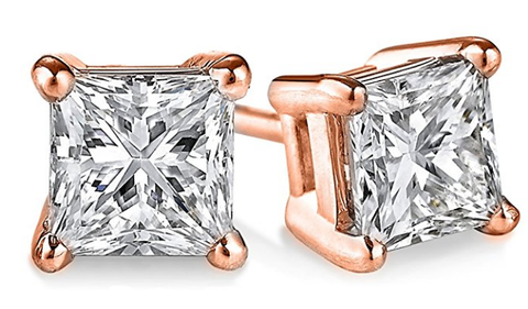 Rose Gold Princess Cut Earrings