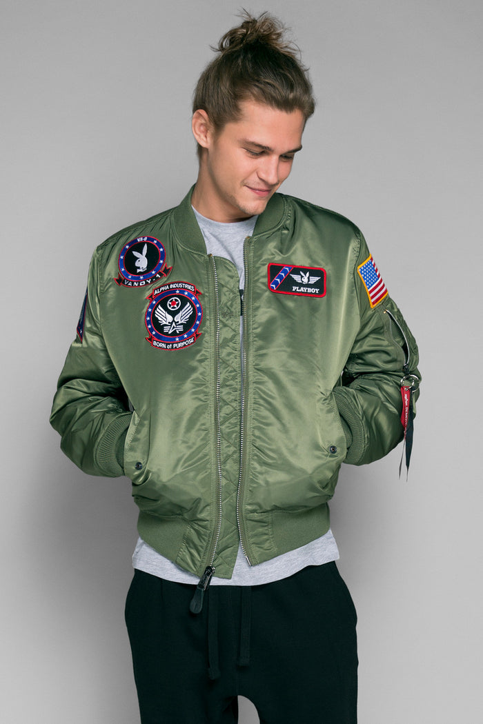 Vandy-1 Alpha Bomber Jacket - Sage | Playboy Jackets | Playboy Shop